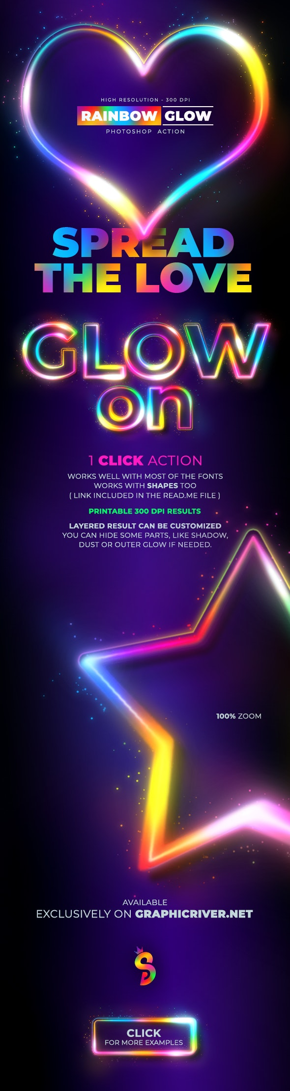 Rainbow Glow - Photoshop Action - Text Effects Actions