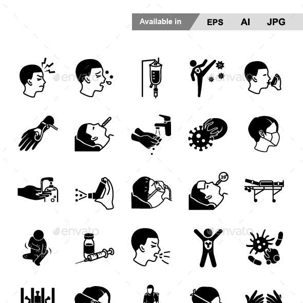 Disease Glyph Vector Icons