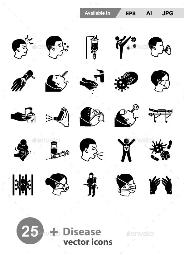 Disease Glyph Vector Icons - People Characters