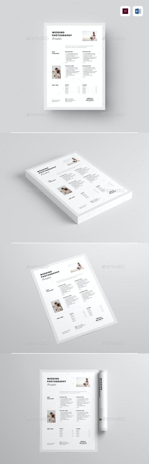 Photography Pricelist - Corporate Flyers
