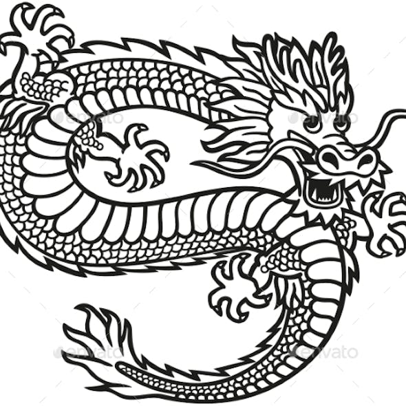 Emblem with the Image of a Flying Chinese Dragon