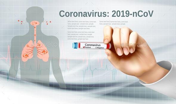 Coronavirus Background With Nurse Holding Tube With Positive Test - Health/Medicine Conceptual