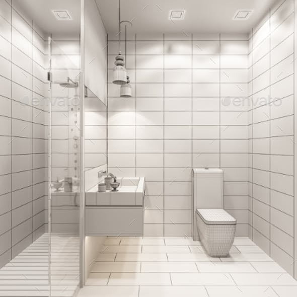 3D Render of the Interior of the Bathroom with
