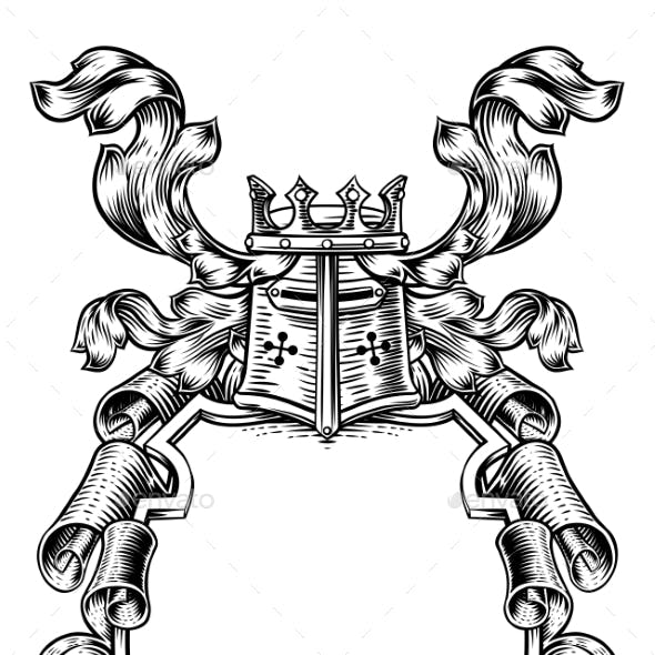 Scroll Shield Crest Royal Coat of Arms