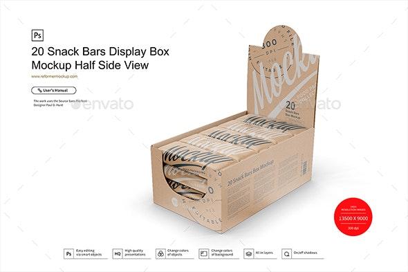 20 Kraft Snack Bars Display Box Mockup Half Side View - Product Mock-Ups Graphics