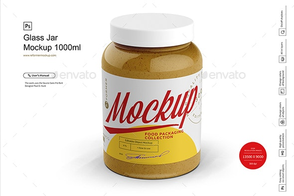 Glass Jar Mockup 1000ml - Product Mock-Ups Graphics