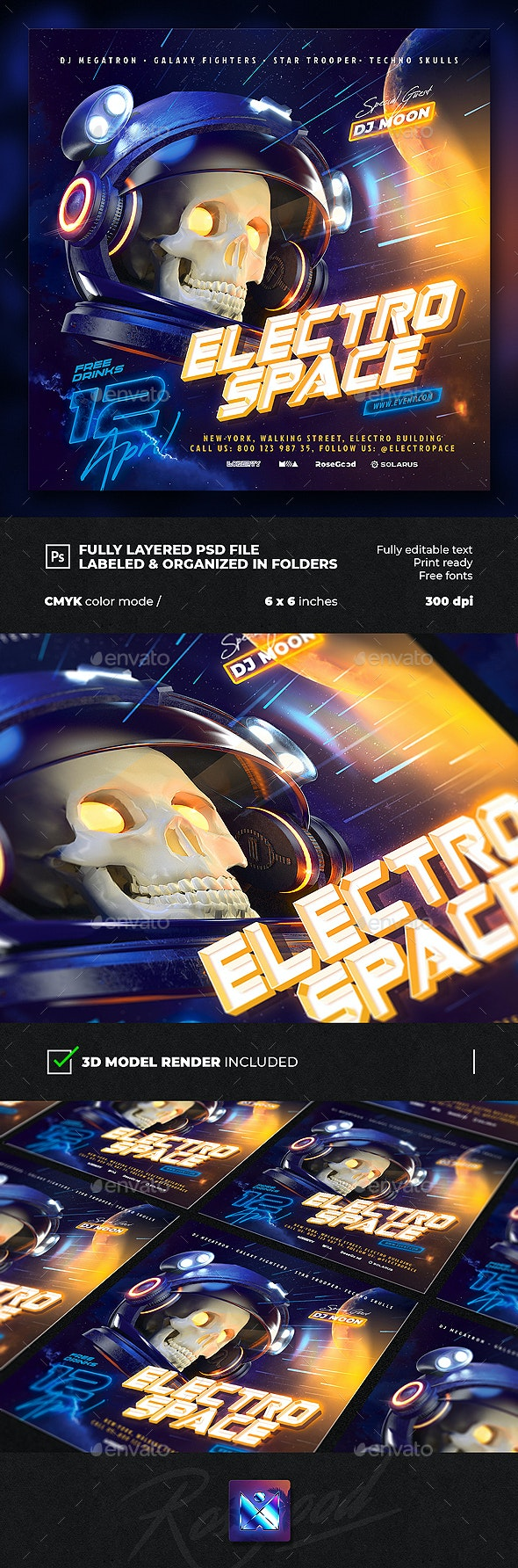 Electro Space Party Flyer vol.2 - Events Flyers