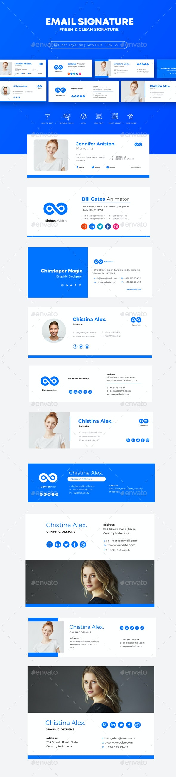 Email Signature Template - Web Elements