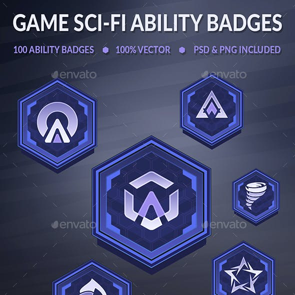 Game Sci-Fi Ability Badges