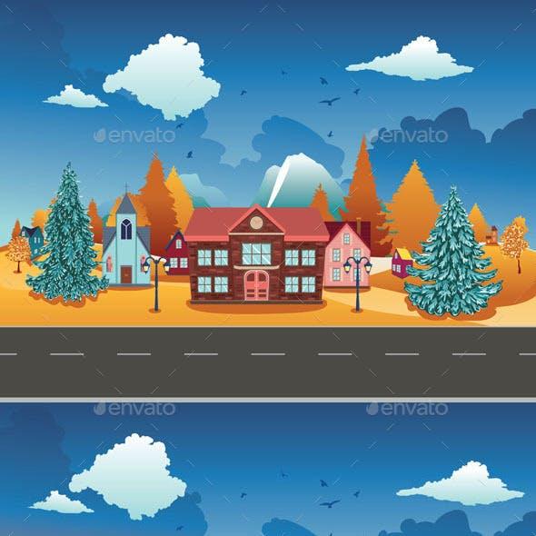 Autumn Village Scene