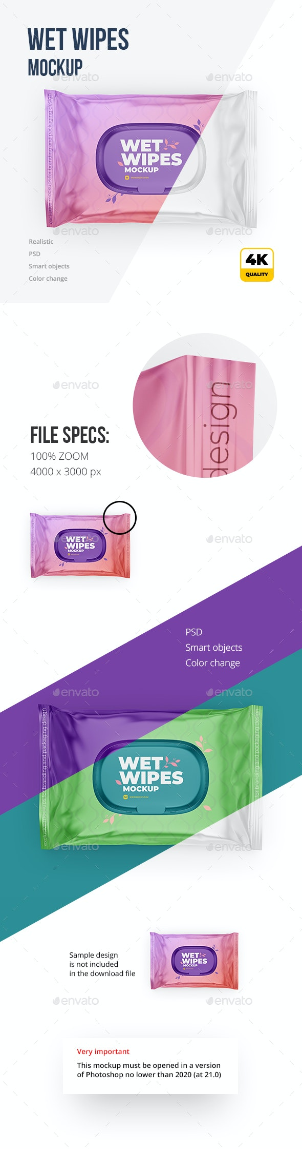 Wet Wipes Mockup. Top view - Packaging Product Mock-Ups