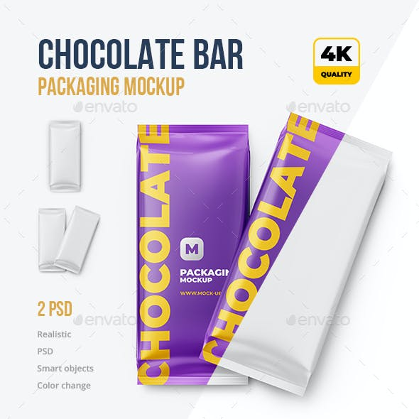 2 PSD. Chocolate Bar Packaging Mockup