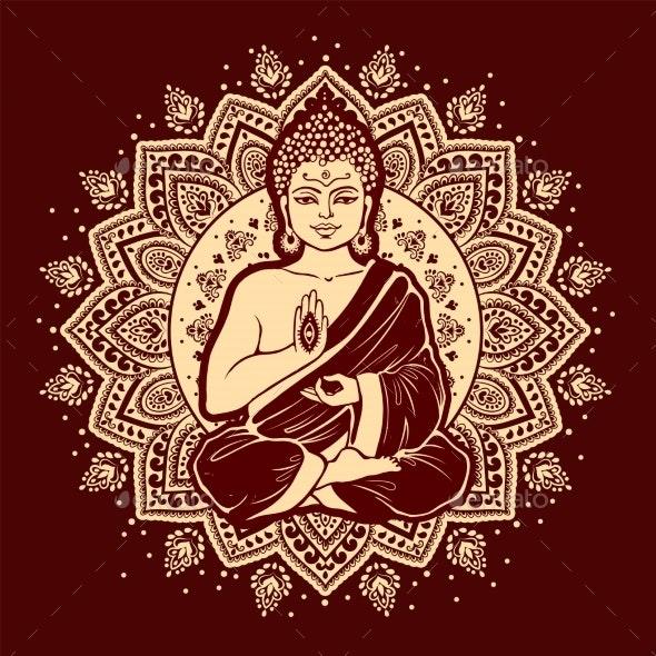Vintage Vector Illustration of Meditating Buddha - Miscellaneous Vectors