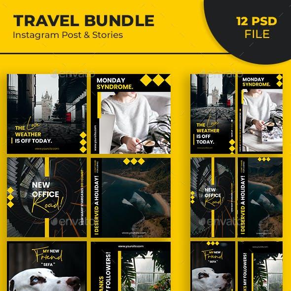 Travel Instagram Post & Stories Bundle
