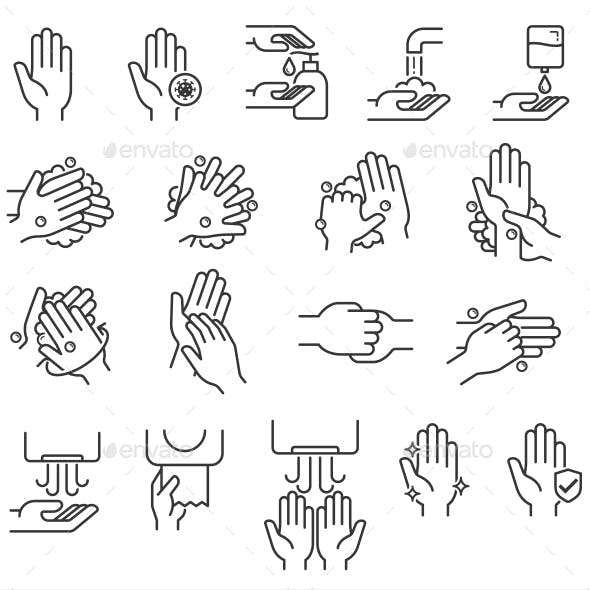 Hand Washing Steps Icons