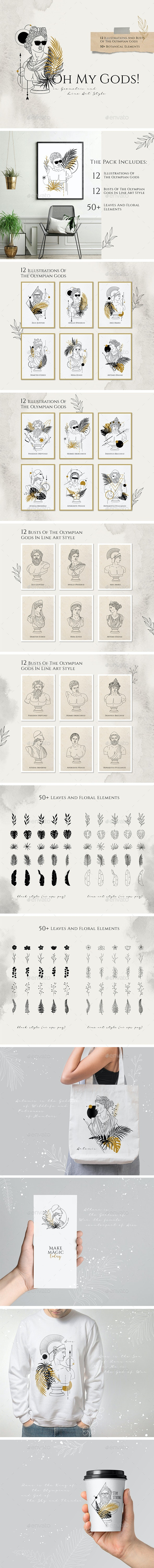 Oh My Gods! Olympian Gods In Line Art Style - Characters Illustrations