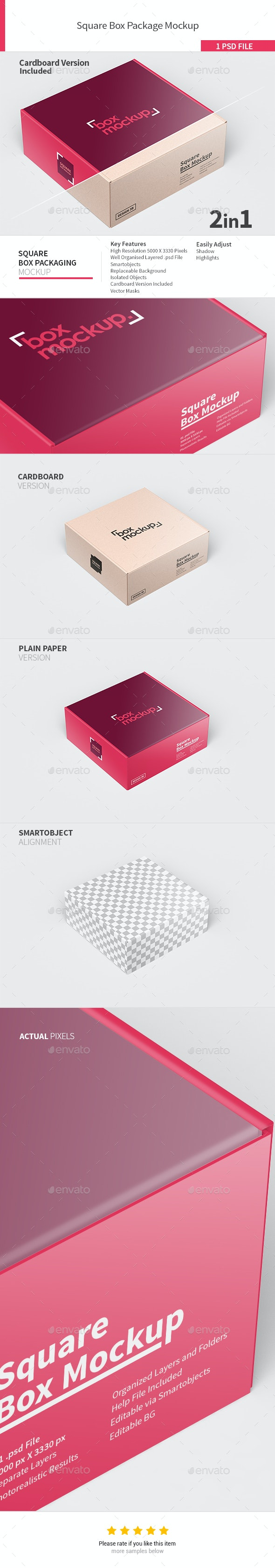 Square Box Packaging Mockup - Product Mock-Ups Graphics