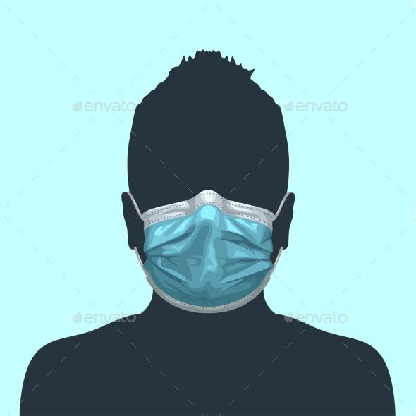 Human Silhouette Blue Medical Mask