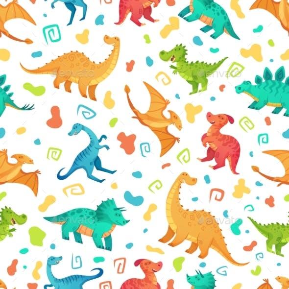 Cartoon Dino Seamless Pattern