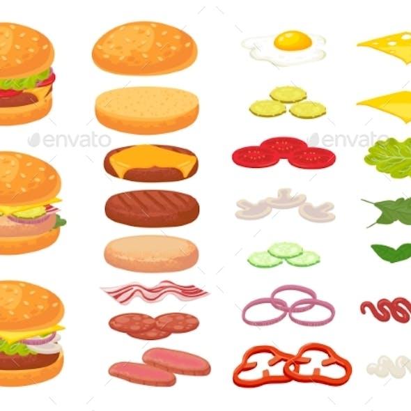 Cartoon Burger Ingredients