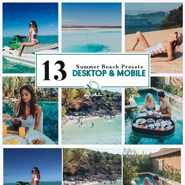 13 Lightroom Presets | Desktop & Mobile | Mazu Summer Beach Collection