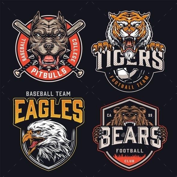 Colorful Vintage Sports Teams Logos Set