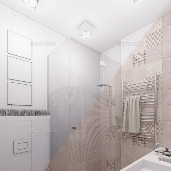 3D Render of a Bathroom in a Modern Style.
