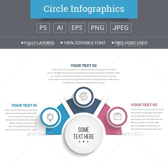Half Business Circle Infographics (3 Steps)
