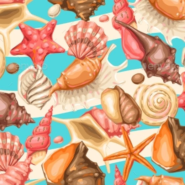 Seamless Pattern with Seashells. Tropical