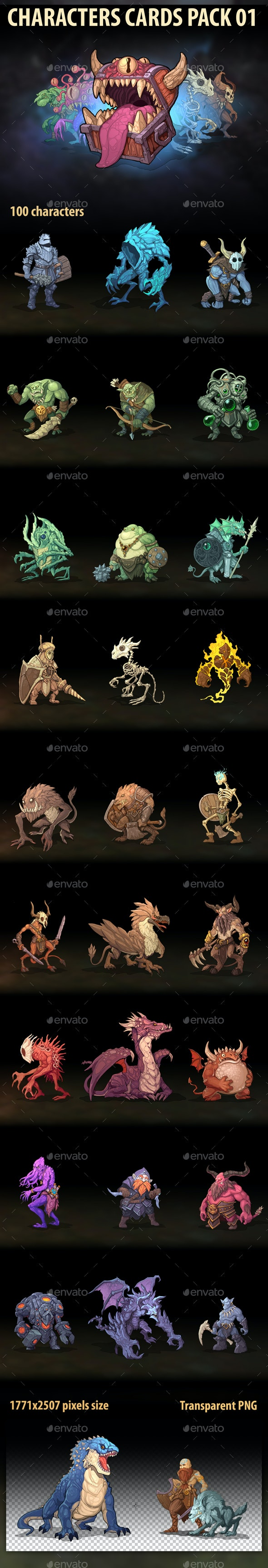 Characters Cards Pack 01 - Miscellaneous Game Assets