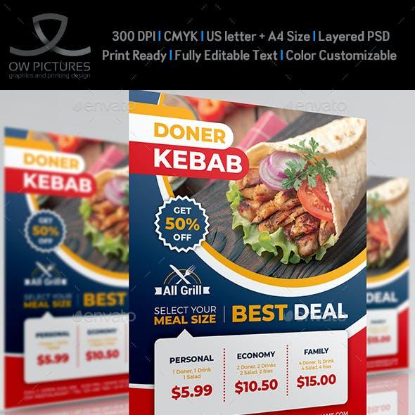 Doner Kebab Restaurant Flyer Template