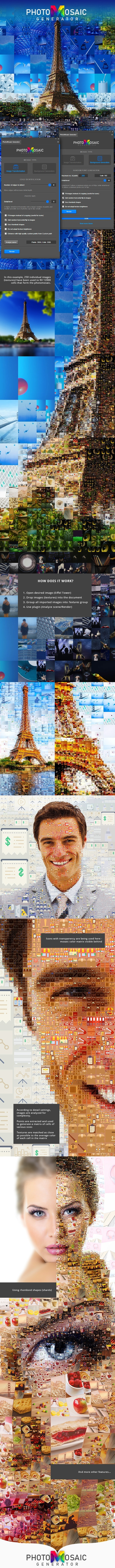 PhotoMosaic Generator - Photoshop Extension - Photo Effects Actions