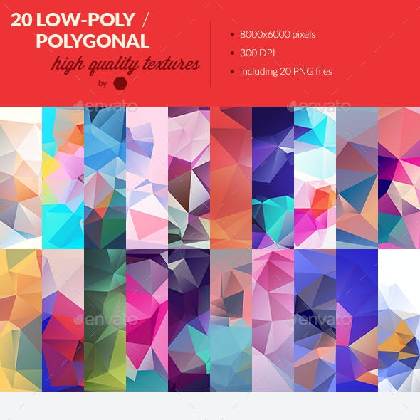 20 Low-Poly Polygonal Background Textures #5