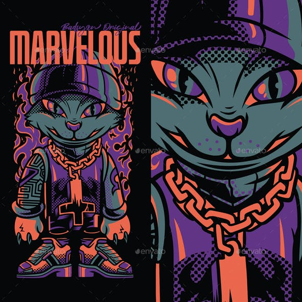 Marvelous Cat T-Shirt Design