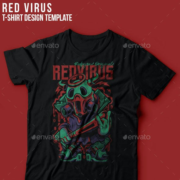 Red Virus T-Shirt Design
