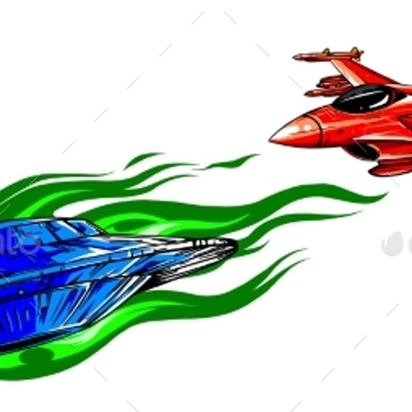UFO Pursuing and Fighter Vector Illustration