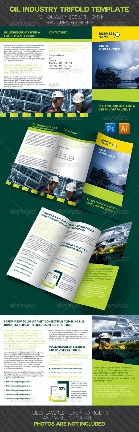 Oil Industry Trifold Template - Corporate Brochures