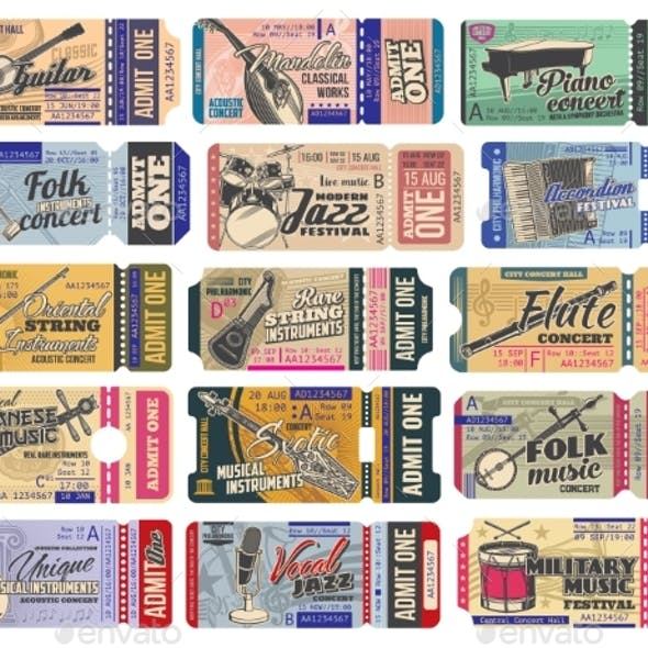 Ticket Templates of Music Concert with Instruments