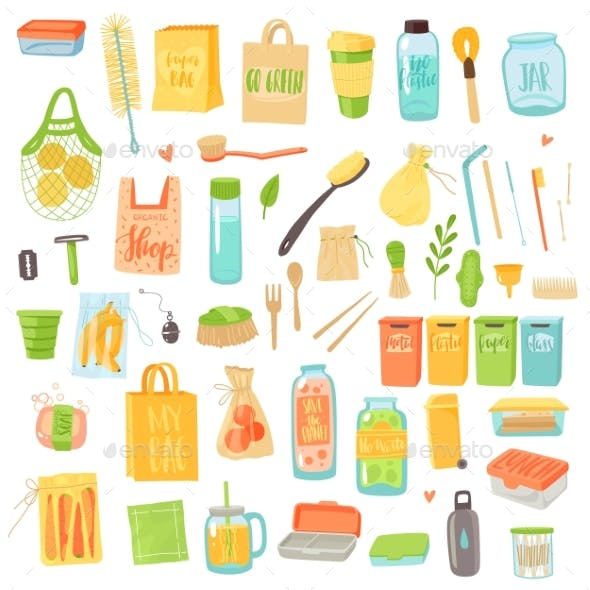 Zero Waste. Eco Bag, Biodegradable Container