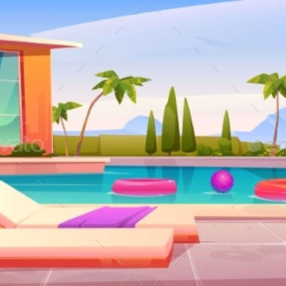 House and Swimming Pool with Deck Chairs