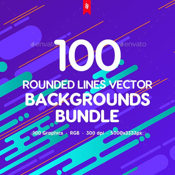 100 Rounded Lines Vector Backgrounds Bundle