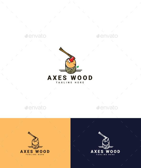 Axes Wood Logo - Crests Logo Templates