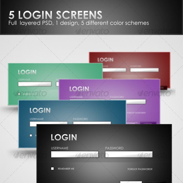 LOGIN TEMPLATE, 5 COLOR SCHEMES
