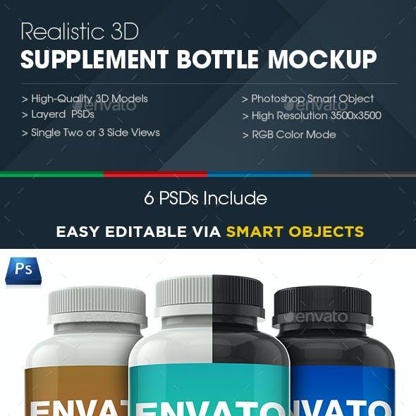 3D Realistic Supplement Bottle Mock-up