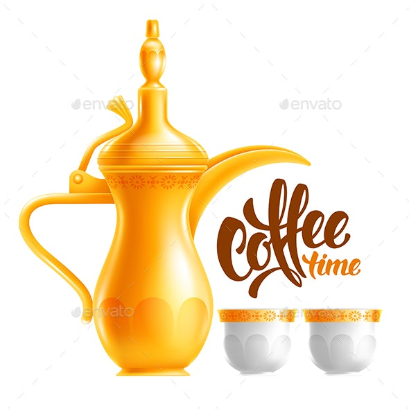 Traditional Arabian Coffee Jug and Cups - Food Objects