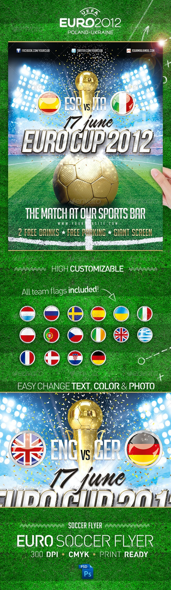 Euro Soccer Cup 2012 Flyer  - Flyers Print Templates
