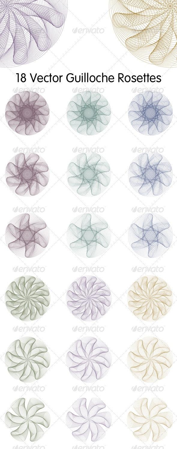 18 Guilloche Rosettes - Decorative Vectors