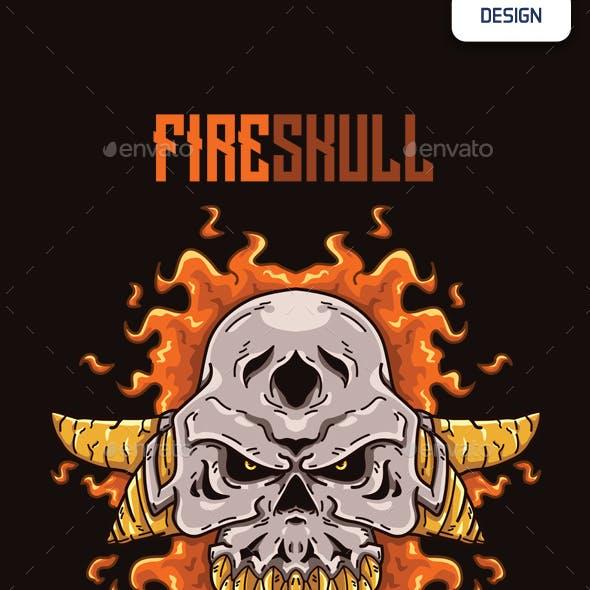 Fire Skull T-shirt Design