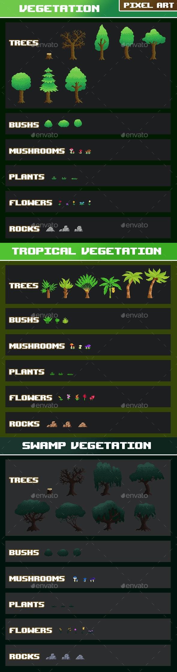 Vegetation Pack Pixel Art - Miscellaneous Game Assets