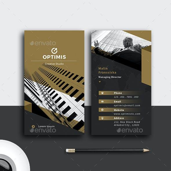 Vertical Gold Modern Business Card